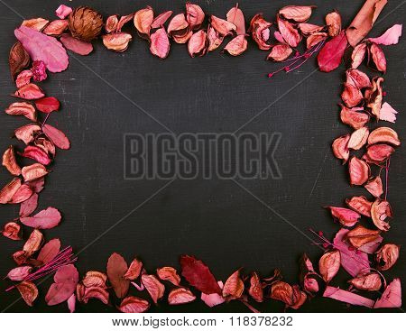 Dry Flowers On Black Surface In Frame Shape