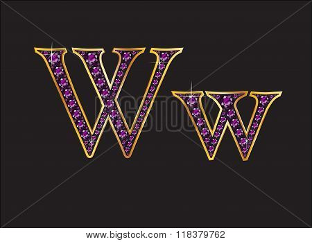 Ww Amethyst Jeweled Font With Gold Channels