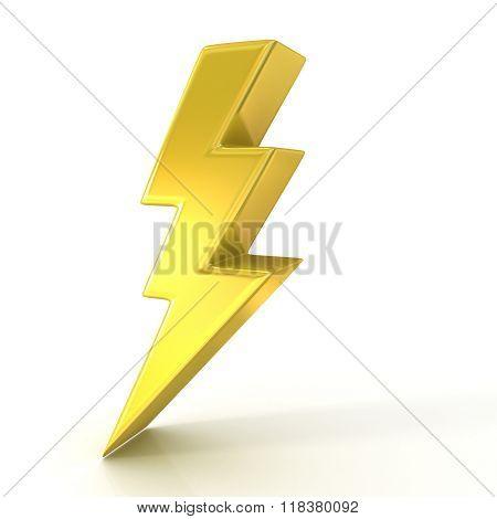 Lightning symbol 3D golden sign