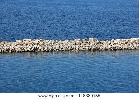 Sea Stone And Concrete Dam