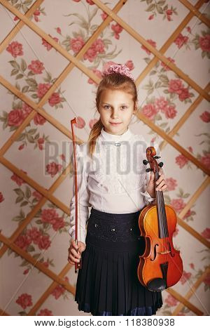 Portrait Of The Little Violinist In Shabby Chic Decor