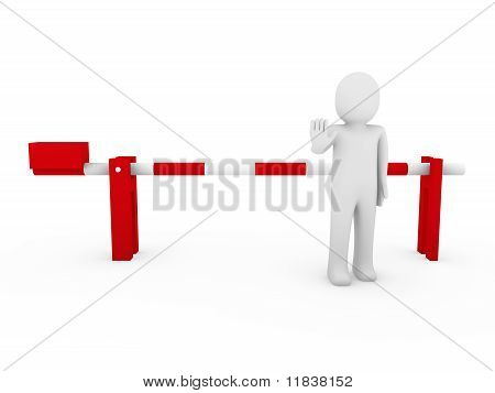 3D Human Stop Barrier Red