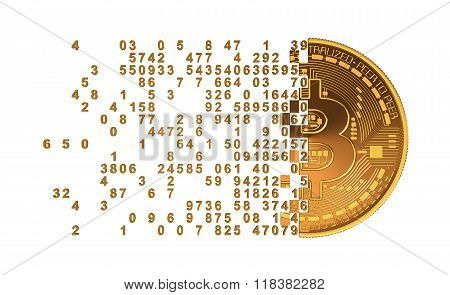 Bitcoin Falling Apart To Digits Concept.