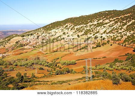 Dades Valley In Electrical Line  Morocco