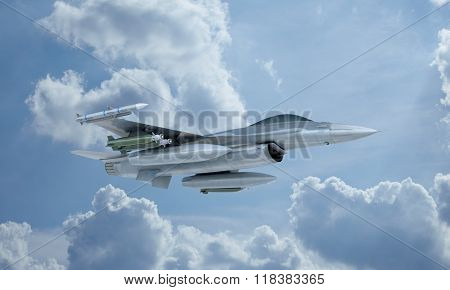 jet F-16 fly in the sky , american military fighter plane.  USA army