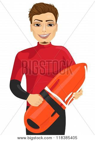 male lifeguard holding a rescue can