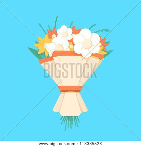 Wedding bouquet flowers vector illustration.
