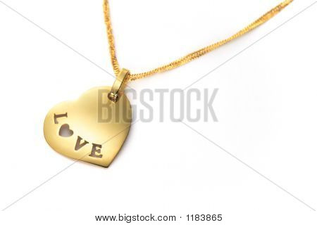 Gold Heart Pendant Valentines Day
