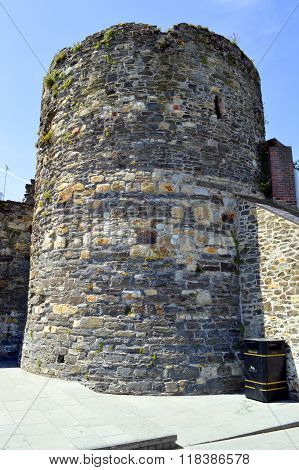 Historical tower on Conwy Castle in North Wales