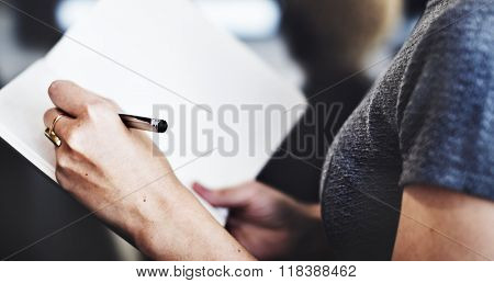 Business Woman Secretary Writing Information Concept