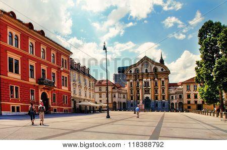 Ljubljana, Slovenia - July,28  2014: Street In The Old City Center Of Ljubljana, Slovenia.