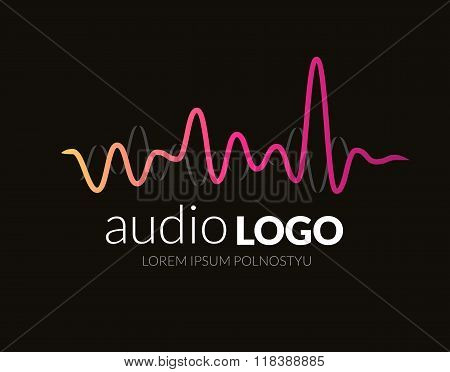 Logo concept sound wave, studio, music, dj, audio system, store, party. Brand, branding, company, co
