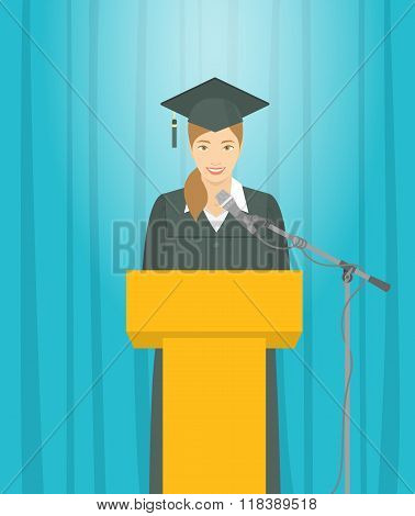 Graduation Ceremony Speech By Asian Girl Graduate At The Podium