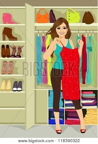 woman standing near a closet