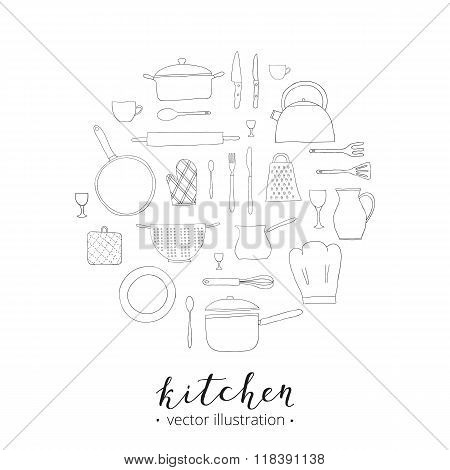 Doodle kitchen utensils in circle.