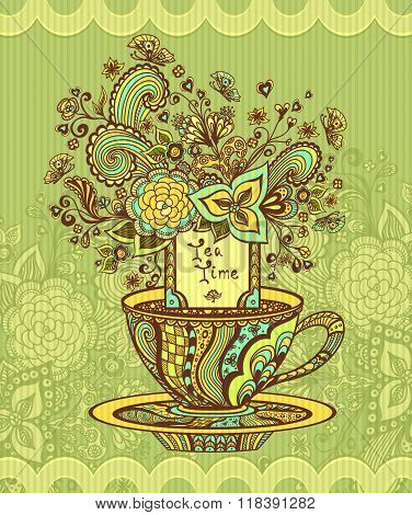 Zen-doodle cup of tea with flowers yellow green  blue on green background