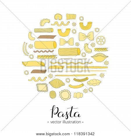 Hand drawn pasta in circle.