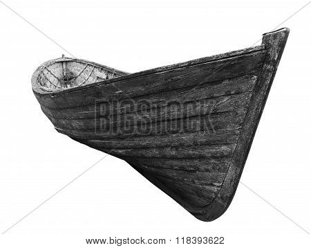 Black And White Front View Of An Old Fishing Wood Boat