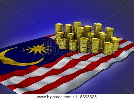 Malaysian economy concept with national flag and golden coins