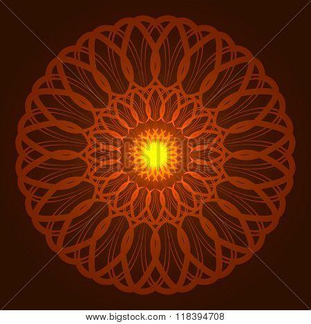 Vector geometric round orange glow mandala