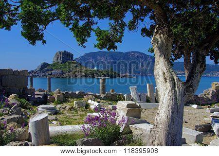 ruins on a mediterranean beach