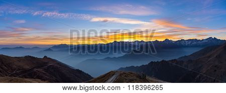 Mountain Silhouette And Stunning Sky At Sunset, Panorama