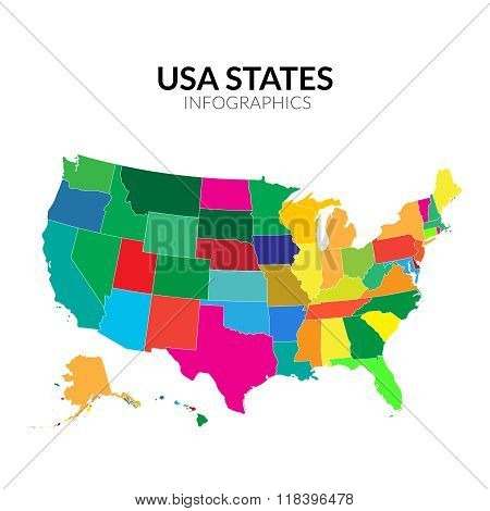 Colorful America USA map with states  vector illustration