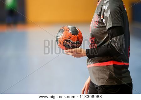 Undefined Hands Holding A Ball Prior To The Greek Women Cup Final Handball Game Arta Vs Nea Ionia