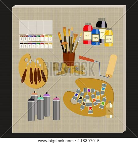 Art Supplies And Tools Vector Pack. Painting Tools Icon Set. Materials For Painting.