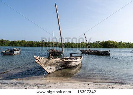 Wooden fishing boats in Tanzania, Africa