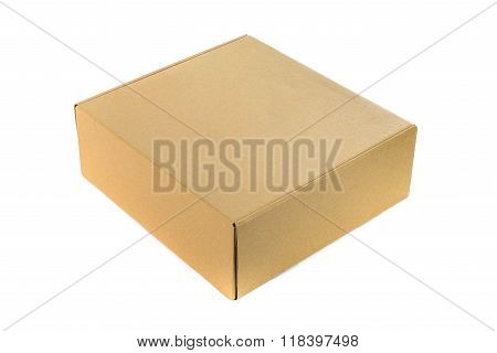 Closed Cardboard Box Or Brown Paper Box Isolated With Soft Shadow On White Background