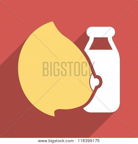 Mother Milk Bottle Flat Long Shadow Square Icon