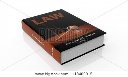 Hardcover book Law with illustration on cover, isolated on white background.