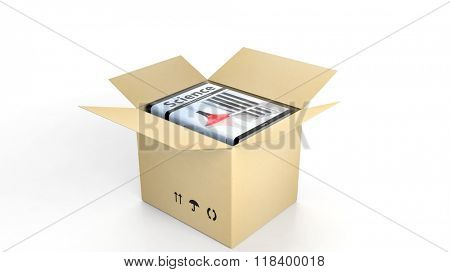 Book on Science with illustrated cover inside an open cardboard box, on white background.