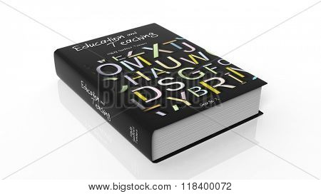 Hardcover book Education and Teaching with illustration on cover, isolated on white background.