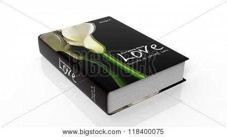 Hardcover book Everything about Love with illustration on cover, isolated on white background.