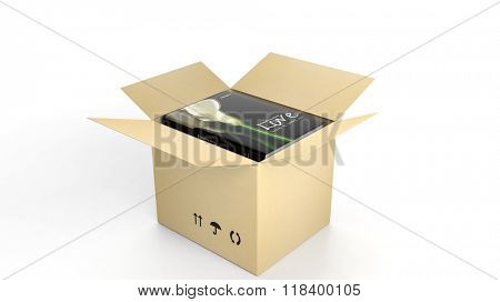 Book on Love with illustrated cover inside an open cardboard box, on white background.