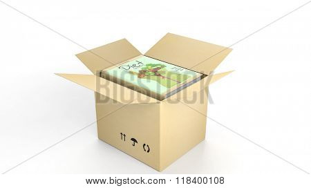 Book on Diet with illustrated cover inside an open cardboard box, on white background.