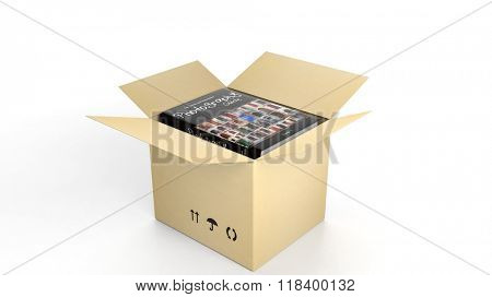 Book on Photography with illustrated cover inside an open cardboard box, on white background.