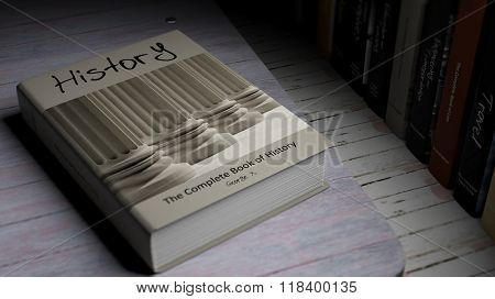 Hardcover book on History with illustration on cover, on wooden surface.