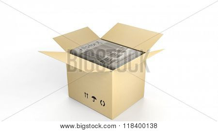 Book on History with illustrated cover inside an open cardboard box, on white background.
