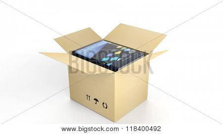 Book on Computers and Technology with illustrated cover inside an open cardboard box, on white background.