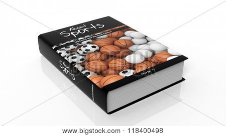 Hardcover book About Sports with illustration on cover, isolated on white background.