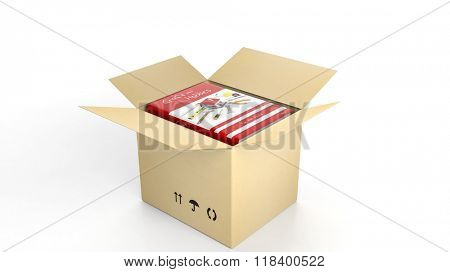 Book on Craft and Hobbies with illustrated cover inside an open cardboard box, on white background.