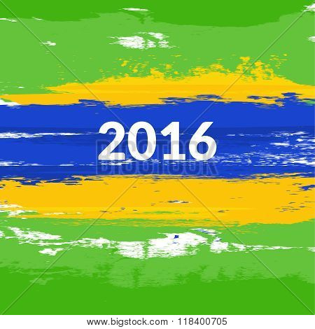Grunge brush Brazilian flag with the inscription 2016. Vector illustration
