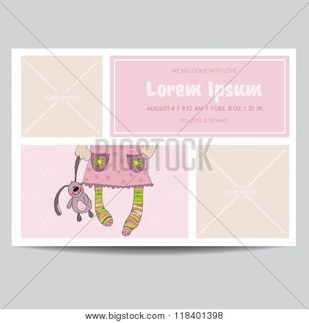 Cute Baby Girl Arrival Card - for Baby Shower, Invitation - in vector