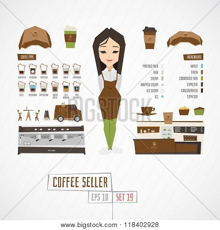 Flat funny charatcer coffee seller