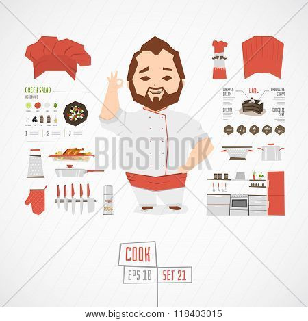 Flat funny charatcer businessman