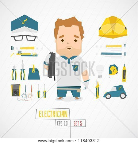 Flat funny charatcer electrician