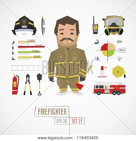 Flat funny charatcer firefighter